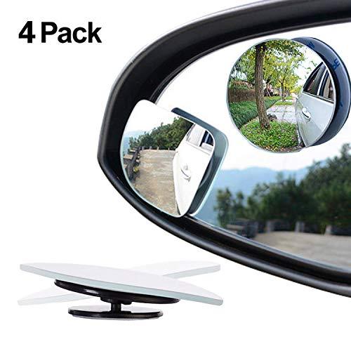 Paquete de 4 espejos para retrovisor, con rotacion de 360º y oscilacion ajustables, forma de abanico y forma redonda sin marco de 5 cm con cristal convexo de alta definicion