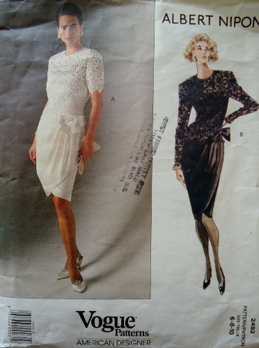 Vogue Patterns American Designer Albert Nipon#2492 Dress Size 6-8-10