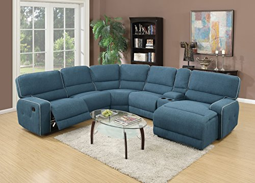 1PerfectChoice Becker Blue Fabric Home Theater Motion Sofa - Motion Sofa Fabric