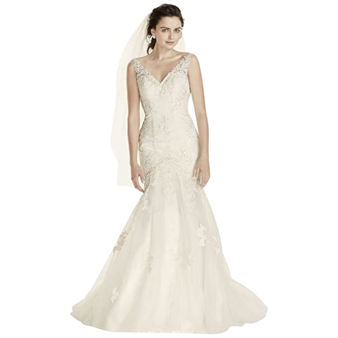 a9eb7266890 David s Bridal Sample  As-is Tank Mermaid Wedding Dress with Open Back Style  AI12030049