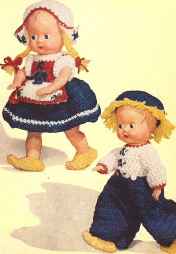 Vintage Crochet PATTERN to make - Dutch Doll Clothes Hat Boy Girl. NOT a finished item, this is a pattern and/or instructions to make the item - Crochet Doll Hats