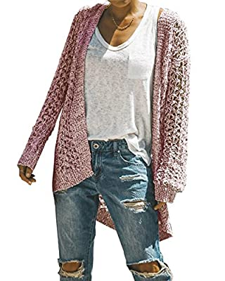 Ivay Womens Long Shrug Cotton Cardigan Lightweight Open Front Sweater