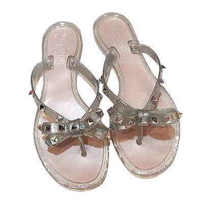 f89f1b0acb5d4 Womens Valentino PVC Jelly Rockstud Bow Thong Flip Flop Sandals (36 EU)  Beige