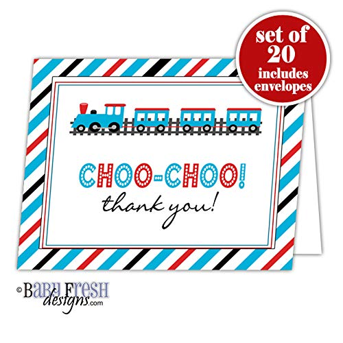 Train Themed Thank You Card - Set of 20 Folded cards with envelopes