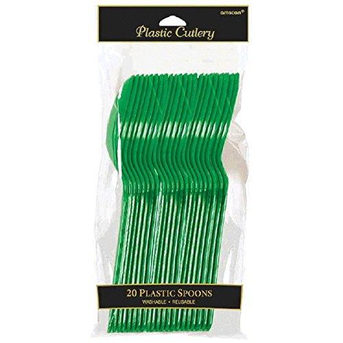 Green Plastic Spoons - 3