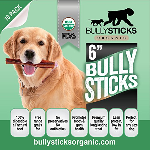 bullysticks organic best 6 inch bully sticks for dogs big bag 10 pack low odor dog treats. Black Bedroom Furniture Sets. Home Design Ideas
