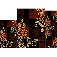 Brown/Ebony Transitional Casual Vines Blocks 3PC Rug Set - Area Rug (5 x 7), Runner (2 x 5), Accent Mat (2 x 3)