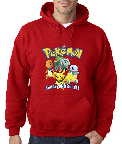 allwitty 1118 - Hoodie Pokemon GO Starter Pikachu Squirtle Charmander Bulbasaur Unisex Pullover Sweatshirt XL Red (Starter Hoodie Men compare prices)