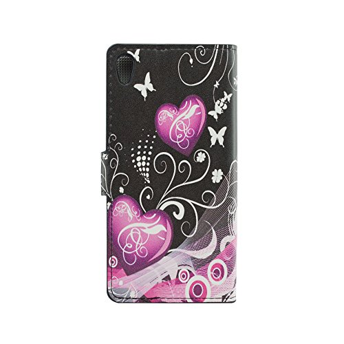 Qiaogle Teléfono Case - Funda de PU Cuero Billetera Clamshell Carcasa Cover para Motorola Moto X (1. Generation) (4.7 Pulgadas) - HY10 / Colorful Butterfly HY12 / Pink Balloons Love Heart