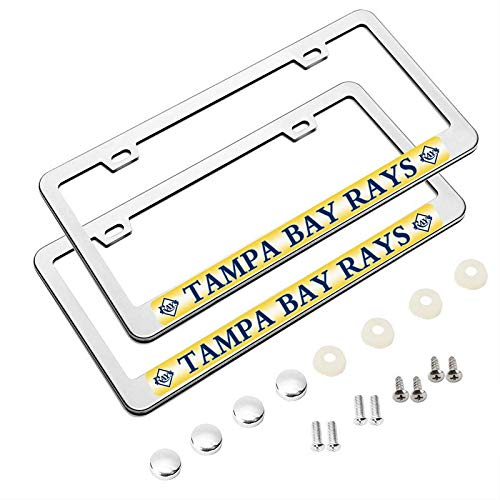 2 Pack MLB Premium Stainless Steel License Plate Frame - Tampa Bay Rays ()