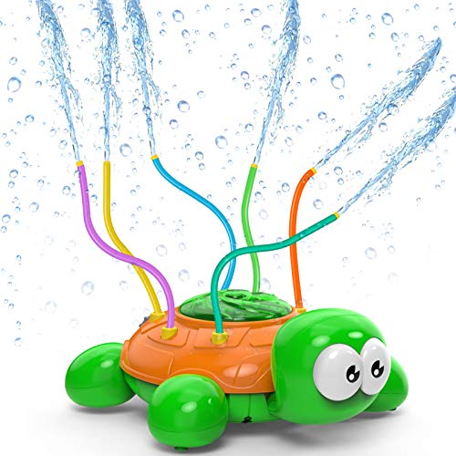 Kiztoys Outdoor Water Sprinkler for Kids and Toddlers Backyard Spinning Turtle Sprinkler Toy Wiggle Tubes Spray Splashing Fun for Summer Days Sprays Up to 8ft High Attaches to Garden Hose