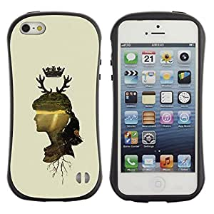 Suave TPU GEL Carcasa Funda Silicona Blando Estuche Caso de protección (para) Apple Iphone 5 / 5S / CECELL Phone case / / Woman Profile Portrait Nature Crown Horns Deer /