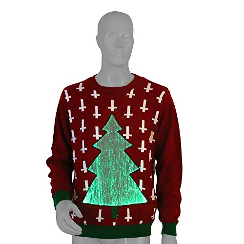 Ugly Christmas Sweater - LED Illuminated Tree Displaying 7 Alternating Colors For Any Holy Night! (Animal That Starts With M)