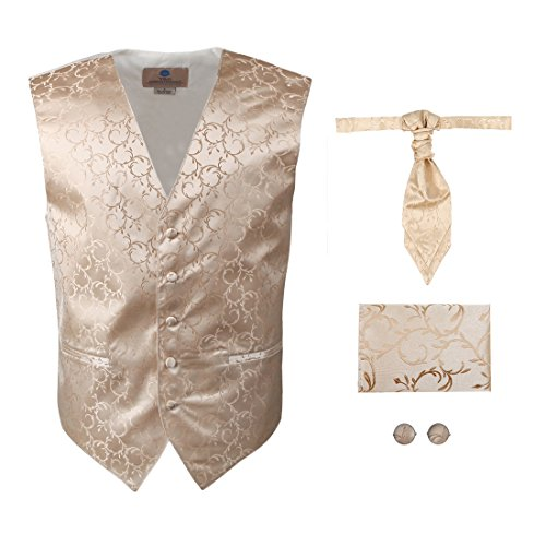 beige Pattern Formal Vest for Men Gift Idea with Match Tuxedo Vests ,cufflinks, hanky and Ascot Tie for Suit Y&G VS2031-L Large -