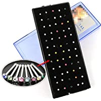 60PCS Surgical Steel Rhinestone Crystal Nose Ring Stud Body Piercing Jewelry New ERAWAN (Multi-Color)