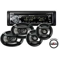 Pioneer DEH-X6800BT Single DIN Bluetooth CD Player with TS-695P 6x9 and TS-165P 6.5 Speaker Package with a FREE SOTS Air Freshener