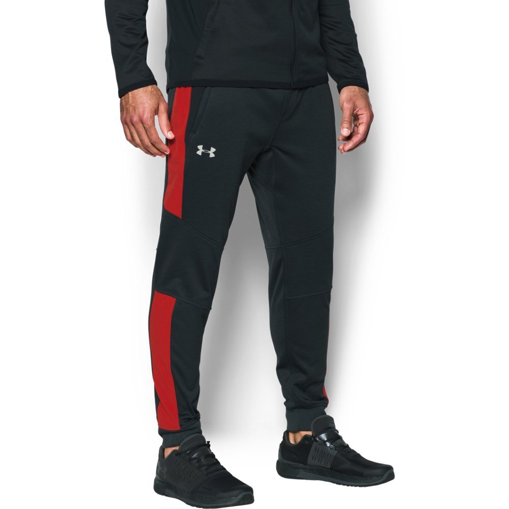 Under Armour Men's ColdGear Reactor Fleece Tapered Pants,Anthracite (016)/Silver, Large by Under Armour