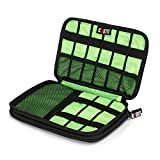 ATAILORBIRD Cable Organizer Bag, Universal Waterproof Travel Electronic Accessories Case for 7.9 Inch Tablet, USB Cables, Earphones, Chargers, Power Banks, Adapters - Gray and Green