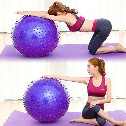 ROUTESUN Yoga Ball, Exercise Ball, Anti-Burst Heavy Duty Pilates Ball Chair, Birthing Ball, Balance Ball with Foot Pump, 65cm 75cm Stability Ball Supports 2000lbs for (Burst Resistant Feet Ball)