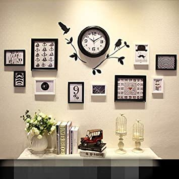 Europäische Home Moderne Wohnzimmer Holz Bilderrahmen Wanduhr Wand  Ornamente Kombination Wanddekoration Wohnzimmer/Schlafzimmer/Restaurant