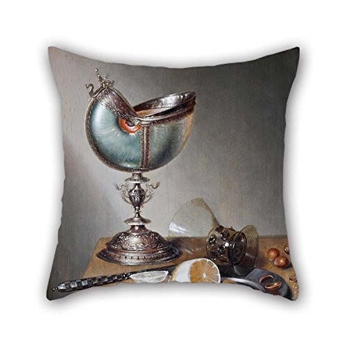Pillowcase Of Oil Painting Marten Boelema De Stomme - Still-Life With Nautilus Cup 20 X 20 Inches / 50 By 50 Cm Best Fit For Teens Shop Dinning Room Wedding Play Room Shop 2 Sides