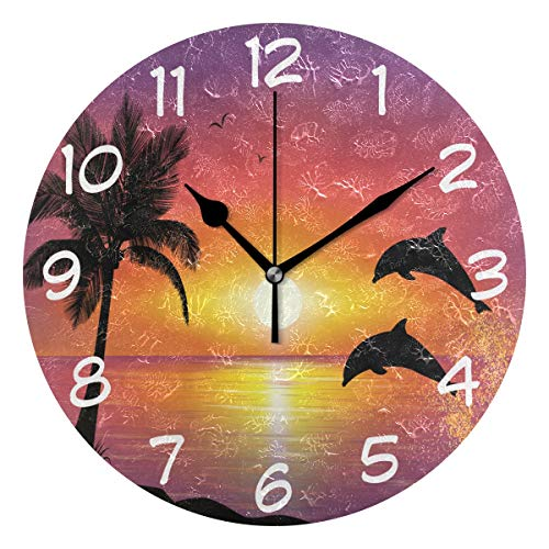 (DJROW Sunset Beach and Dolphins Wall Clock Office Kitchen Bedroom Living Room Decor 9 Inch,Indoor Modern Simple Oil Painting Acrylic Round Battery Operated)