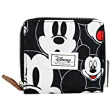 DISNEY Mickey Mouse Visage - Mini Money Organizer for Woman - With Zip Lock and Metallic Button - Color Black