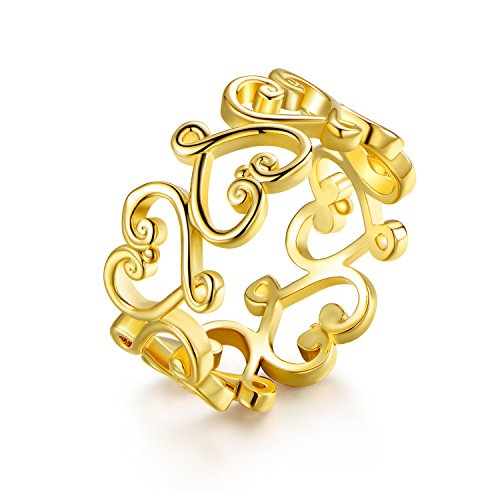 Barzel Gold Plated Filigree Heart Ring (Pave Filigree Ring)