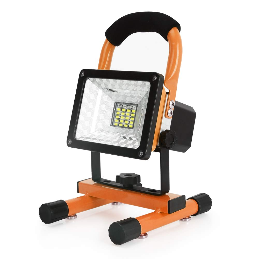 [2018 Newest] Work Light, totobay Outdoor Camping Lights Spotlights Work Lights with Magnetic Stand Led Work Light with 2 USB Ports to Charge Mobile Devices and Special SOS Modes[ 15W 24LED] (Orange)