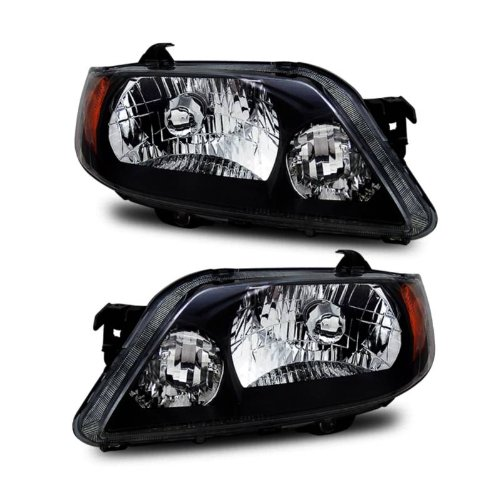 Protege Driver Side Headlight - SPPC Crystal Headlights Black Assembly Set for Mazda Protege - (Pair) Driver Left and Passenger Right Side Replacement Headlamp