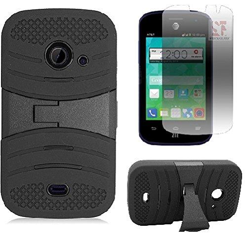 [SlickGears™] Heavy Duty M1 Armor Dual Layer Kickstand Case for ZTE Zinger (T-Mobile/Family Mobile) ZTE Z667 (AT&T) ZTE Prelude 2 (Cricket) ZTE Whirl 2 (Net10) + Premium LCD Screen Protector Combo (Black) (Combo Protector Premium Screen)