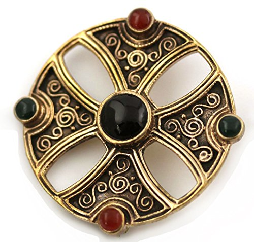 - Bronze Green N Red Agate, Black Onyx Pins and Brooches Norse Irish Celtic Knot Vintage Thailand Jewelry (Brooch V.2)