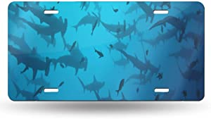 WUZZZZ Hammerhead Shark License Plate Front License Sign Car Tag Decorative Metal Plate
