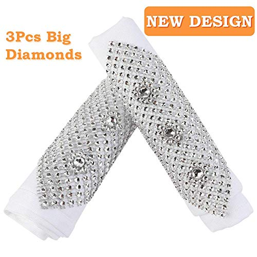 Aytai Rhinestone Mesh Napkin Rings Plastic Bling Napkin Holders for Banquet Party Wedding Decoration (Silver)]()