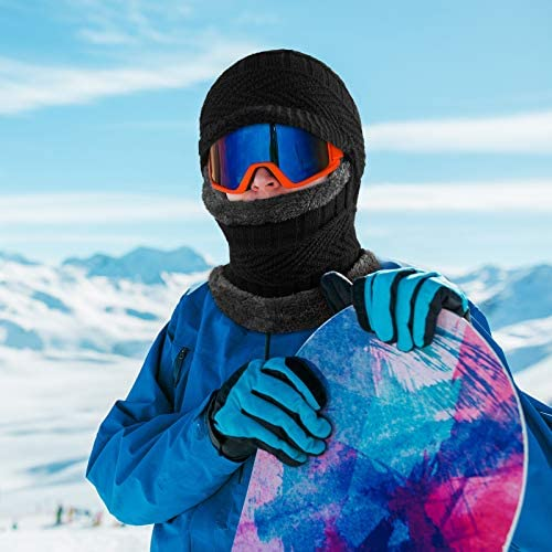 2 Pieces Winter Knitted Balaclava Hat Warm Cycling Face Covering Winter Neck Warmer Knit Hat Neck Gaiter for Adults Outdoor Sports (Black, Gray)