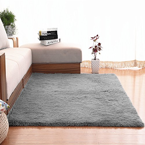Non-Slip Soft Area Rugs, NUOKIM Fluffy Rug Carpet for Kids Bedrooms Living Room 4*5.3 Ft, Gray (Carpet In Room Living Grey)