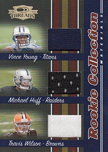 2006 Donruss Threads Rookie Hoard Materials Triple #3 Vince Young Michael Huff Travis Wilson Serial #'d/500
