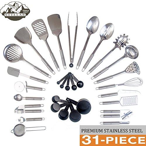 Stellar Cuisine Stainless Steel 31 Piece Utensil Set, Premiu