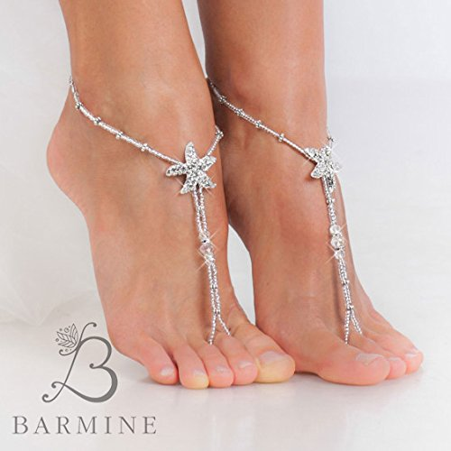 5f81d832f Amazon.com  Rhinestone Starfish Silver Beaded barefoot sandals Bridal foot  jewelry Beach wedding Barefoot Sandals Bridal shoes Footless sandals  Thongs  ...