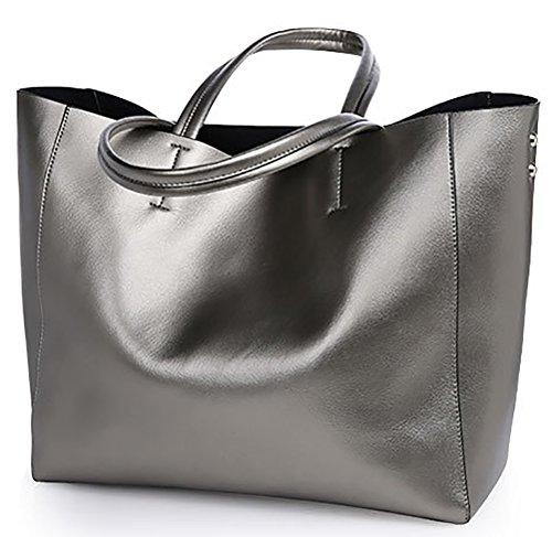 QZUnique Women's Soft Pearl Cowhide Genuine Leather Fashion Elegant Style Shoulder Bag Silver Grey by QZUnique