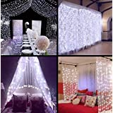 Honche Curtain String Lights with Remote for Bedroom Wedding (300Led-Cold White)