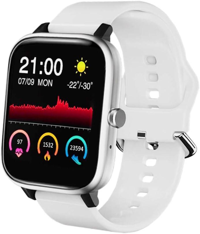 SmartWatch, Reloj Inteligente Android con Reproductor de Música, Reloj Inteligente para Hombres y Mujeres, Pulsera Deportiva Inteligente, Reloj de Fitness con Podómetro y Cronómetro (blanco)