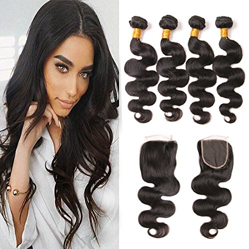 Body Wave Bundles and Closure 8A Mink Brazilian Virgin Hair 4 Bundles with Closure Free Part Natural Color Hair Extension One Day Shipping 16 18 20 22 + 14 inches