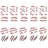 10pcs Horror Realistic Fake Bloody Wound Stitch Scar Scab Waterproof Temporary Tattoo Sticker Halloween Masquerade Prank Makeup Props (White)