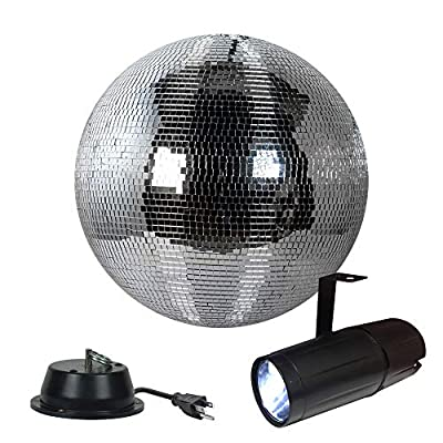 "12"" Disco Mirror Ball Complete Party Kit with LED Pinspot and Motor - Adkins Professional Lighting by Adkins Professional lighting"