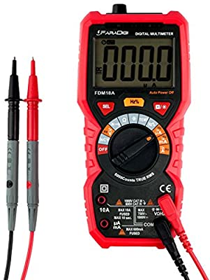 FaraDigi FDM18A Auto-ranging Digital Multimeter,Electrical Tester True RMS 6000 Counts,Continuity Tester,Voltage Detection with a Lighter,Diode and Resistance Test,Live Line with Lcd Backlight