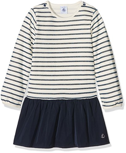 Petit Bateau Girls' Dress with Striped Top and Taffeta Skirt, Navy White, 12-18 Months Baby (Petite Taffeta Skirt)