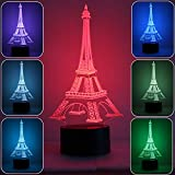 Eiffel Tower Lamp 3D Night Light,Optical Illusion Night Lamps 7 Colors Changing,Touch Button USB Charged Amazing Creative Designed LED Table Desk Lamps Review