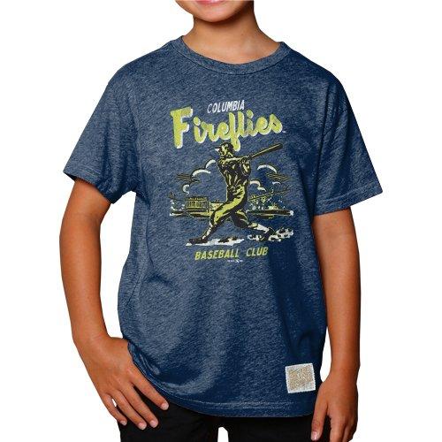 Minor League Baseball Columbia Fireflies Boys T-Shirt, Medium, Heather Navy