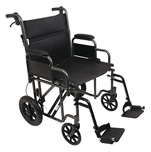 Probasic - Heavy Duty 22 inch Transport Wheelchair, 450 lb capacity -